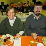 """Mary """"Georgia"""" Halavrezos and Anthony McLean enjoying the annual fall supper."""