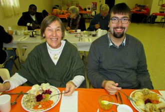 "Mary ""Georgia"" Halavrezos and Anthony McLean enjoying the annual fall supper."